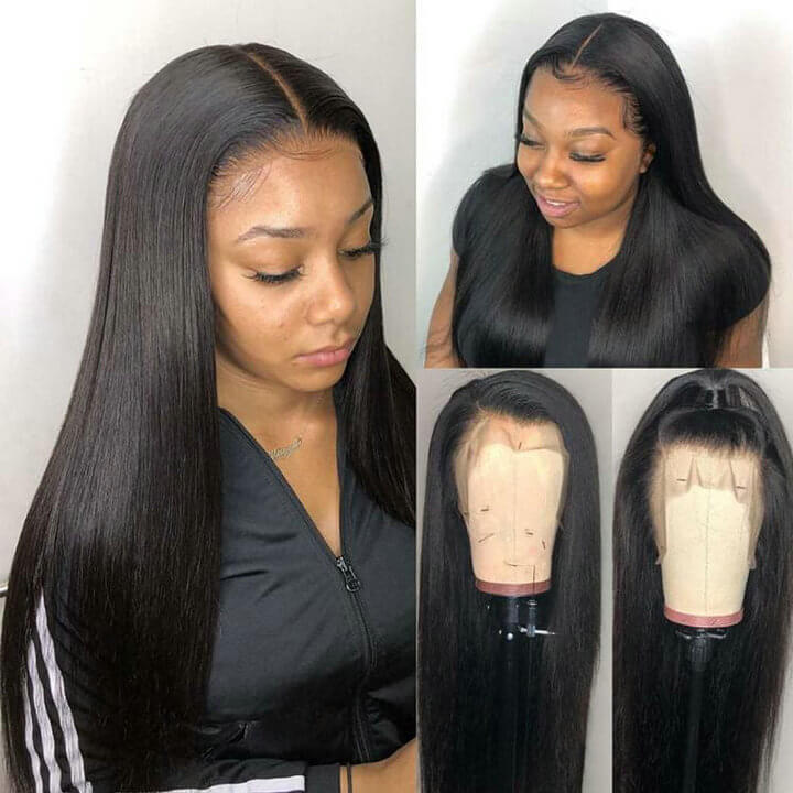 13X4 HD Swiss Lace Wig Pre plucked Indian Remy Straight Human Hair Wigs Bleached Knots