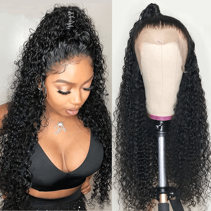 13X6 Curly Fake Scalp Lace Front Wigs 13x4 Pre plucked Brazilian Deep Curly 100% Human Hair Wigs Glueless Lace Wigs