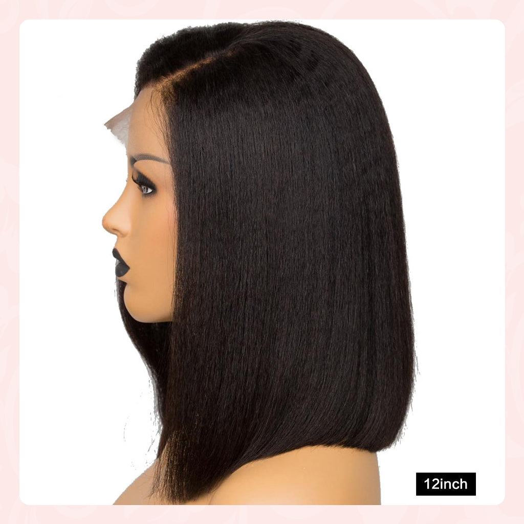 13x4 Kinky Straight Bob Wig 13x6 Lace Frontal Wigs Brazilian 360 Italian Yaki Human Hair Wigs For Black Women