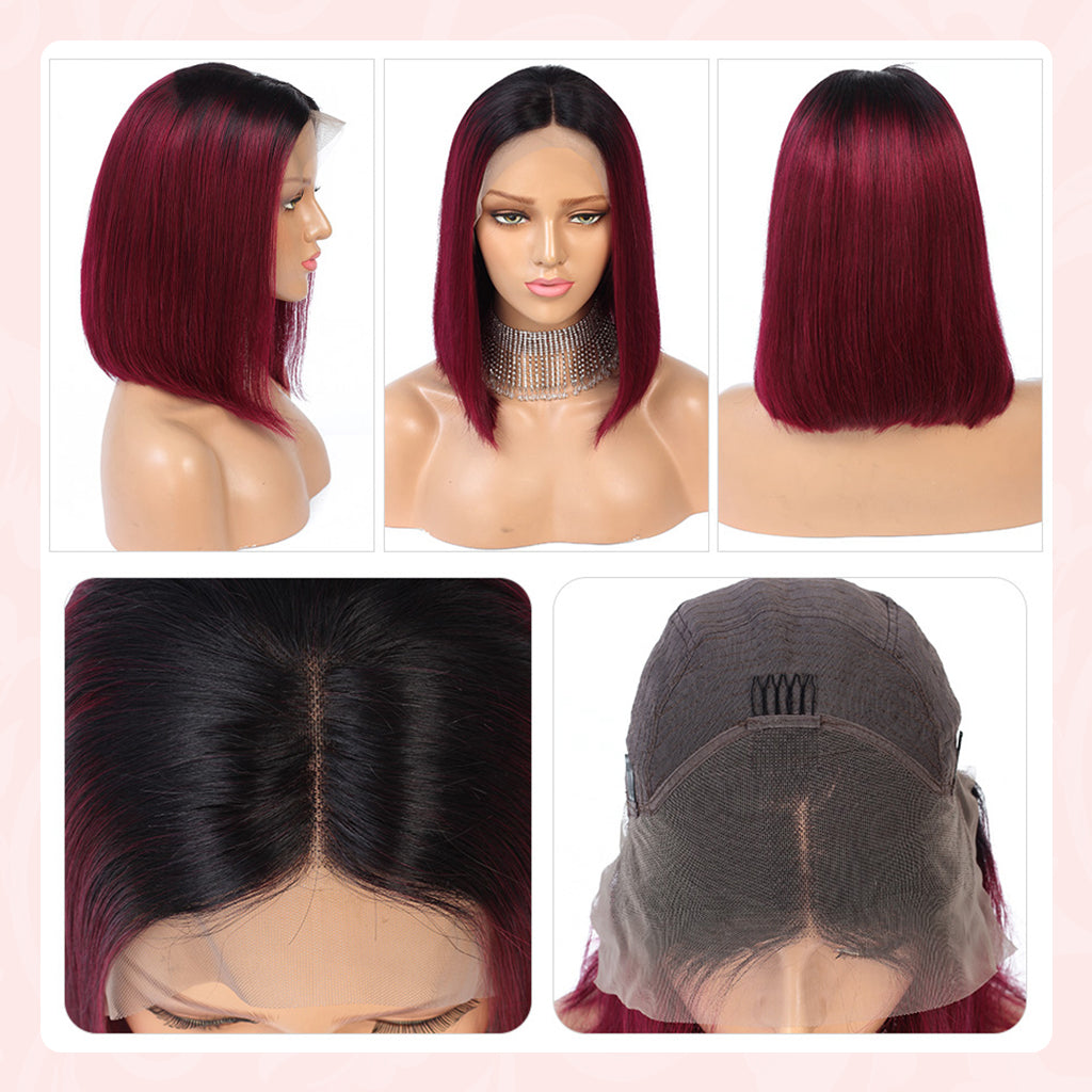 13x4 Lace Front Human Hair Wigs Pre Plucked Brazilian Glueless Short Bob Lace Wigs Ombre 1B99J Remy Burgundy Wig Bleached Knots (21)