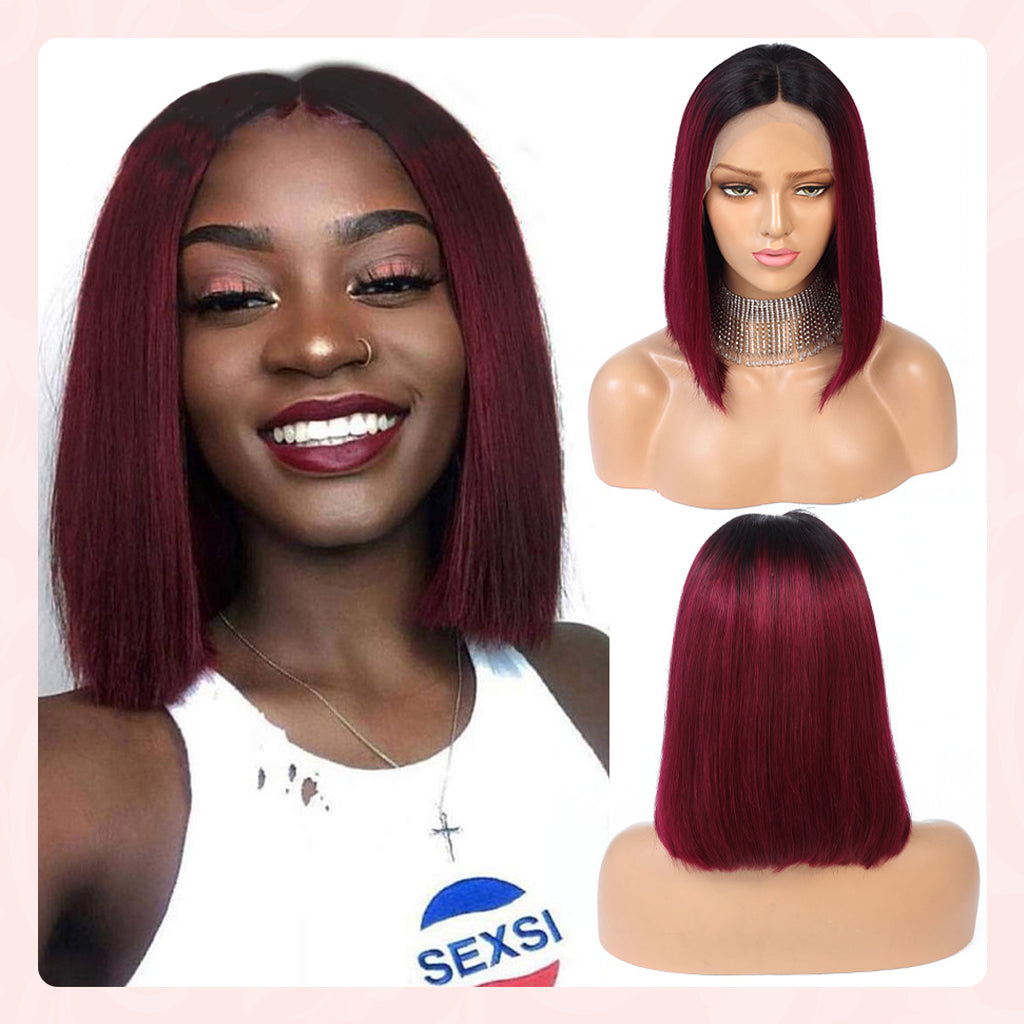 13x4 Lace Front Human Hair Wigs Pre Plucked Brazilian Glueless Short Bob Lace Wigs Ombre 1B99J Remy Burgundy Wig Bleached Knots