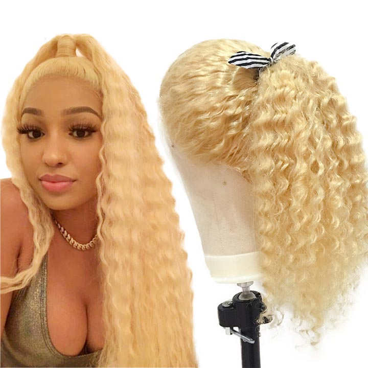 #613 Blonde Curly Lace Front Wig 100% Luxy Brazilian Human Hair Deep Curly Lace Frontal Wigs