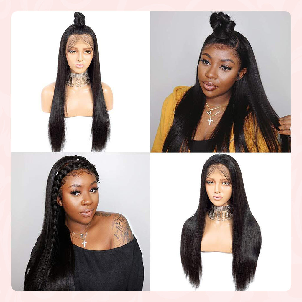 long straight lace closure wig