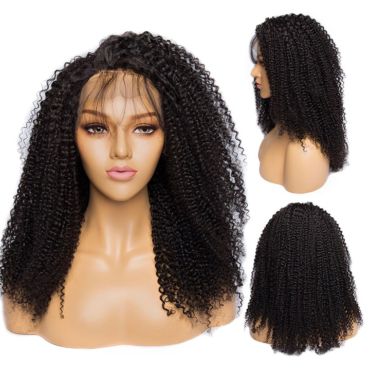 Afro Kinky Curly Lace Front Human Hair Wigs Full Density Pre plucked Lace Frontal wigs With Baby Hair