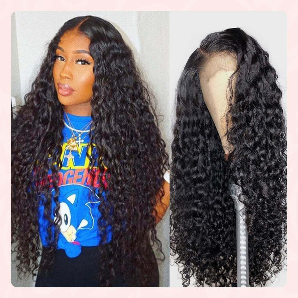 HD Swiss Lace Frontal Human Hair Wigs Best Undetectable Transparent Lace Front Wig 13x4 Brazilian Water Wave Wigs