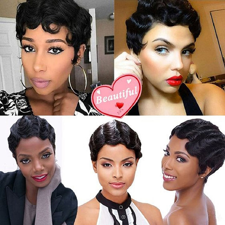 Janet Collection Finger Wave 100% Human Hair Wig Cheap Pixie Cut MOMMY PART Wigs That Look Real