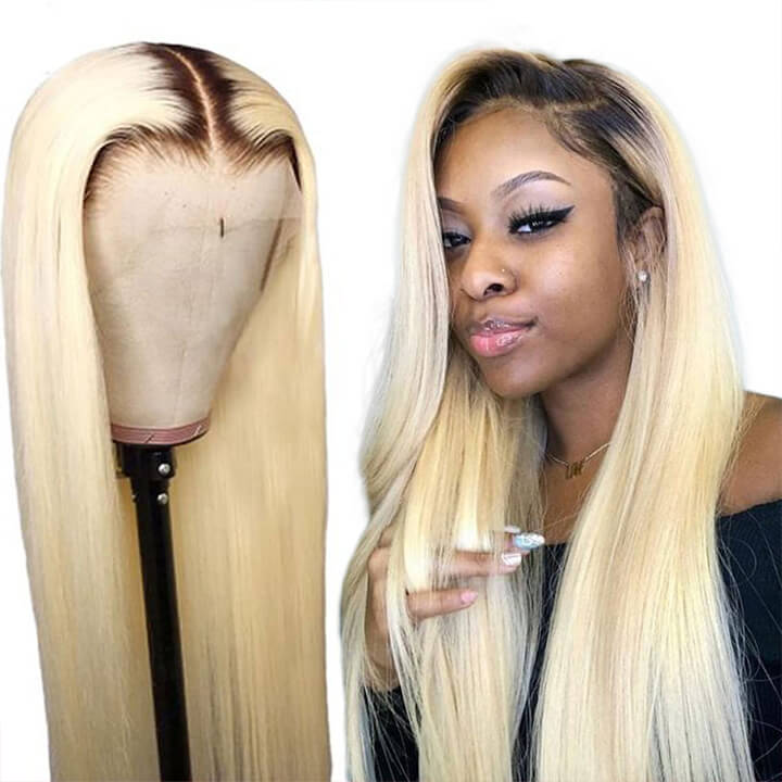 Ombre Blonde Human Hair Wigs With Dark Roots Glueless Brazilian Remy Straight 13x4 Lace Front Wig #1b 613