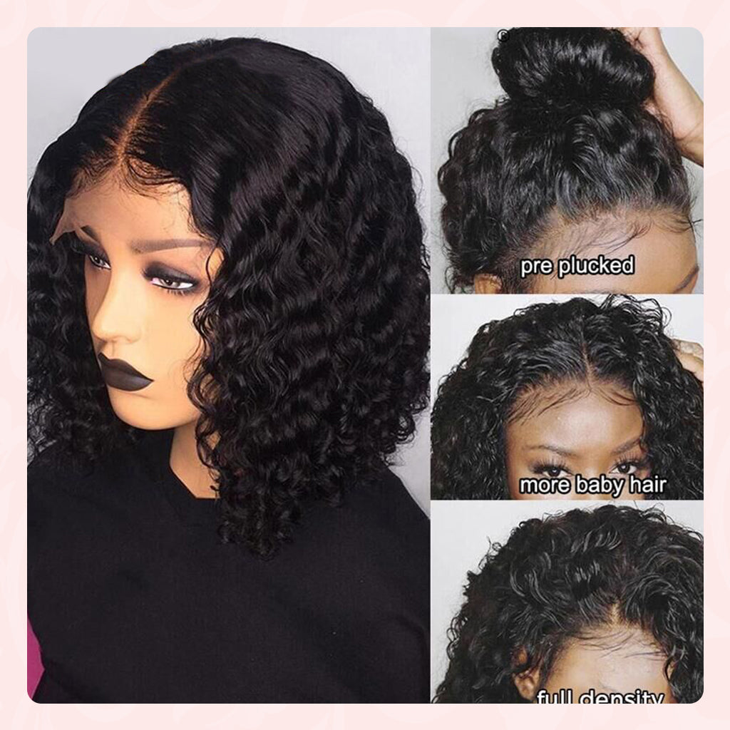 water wave bob lace front wig