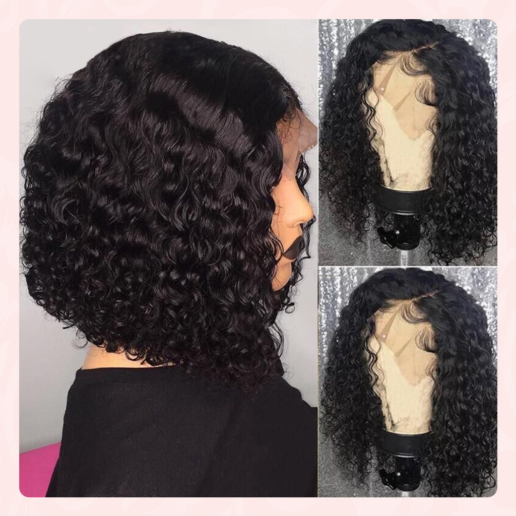curly human hair wigs bob style