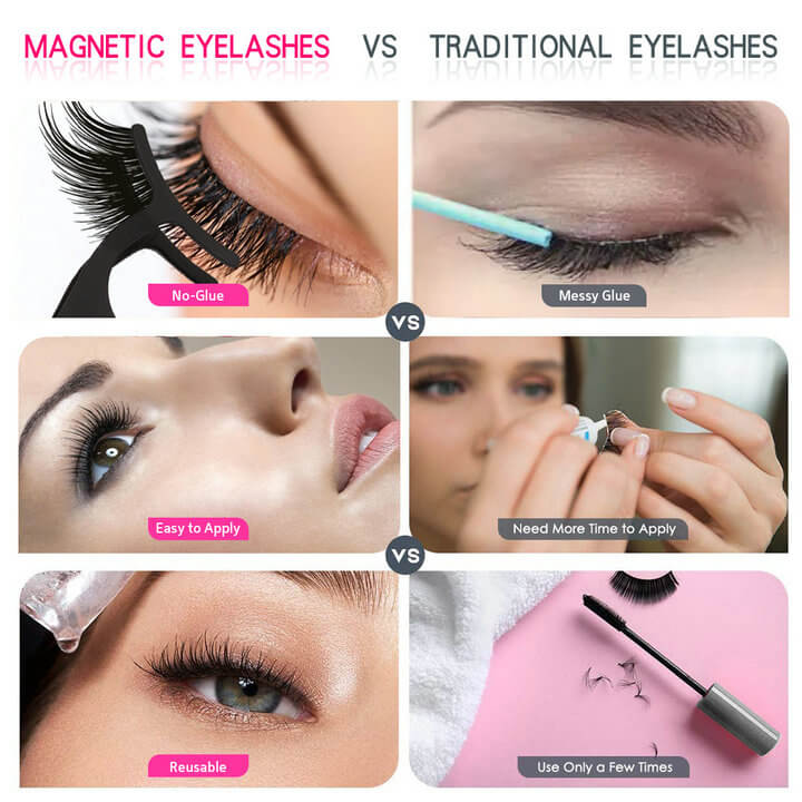 Fake Magnetic eyelashes with eye liner
