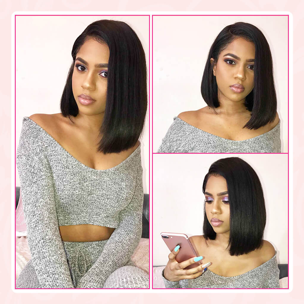 Short Bob Lace Front Human Hair Wigs Straight Side Part Lace Asymmetricial Wig Brazilian Pre Plucked Lace Closure Wigs for Black Women