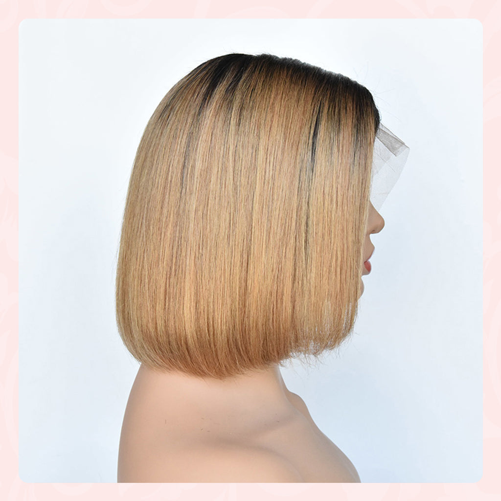 Short Bob Ombre 134 Lace Front Side part Middle Part Human Hair Wigs Brazilian Remy Hair Pre-Plucked Wigs 1b27 Color