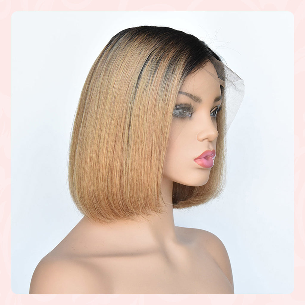 Short Bob Ombre 134 Lace Front Side part Middle Part Human Hair Wigs
