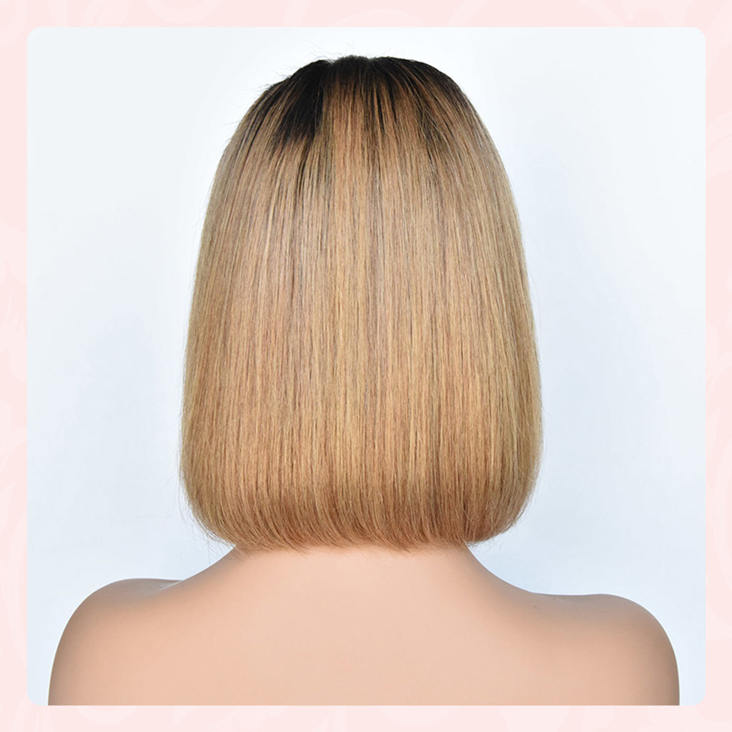Short Bob Ombre 134 Lace Front Side part Middle Part Human Hair Wigs Brazilian Remy Hair Pre-Plucked Wigs 1b27 Color  (1)