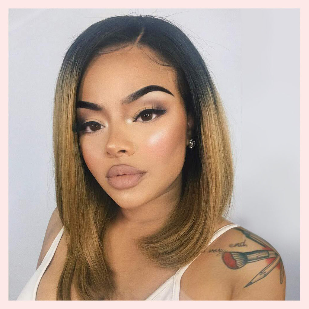 Short Bob Ombre 13x4 Lace Front Human Hair Wigs