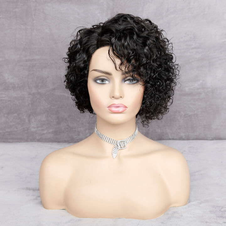 short pixie cut curly human hair wigs