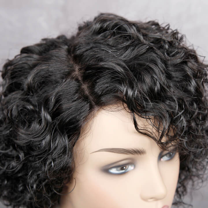 short pixie cut curly lace wigs