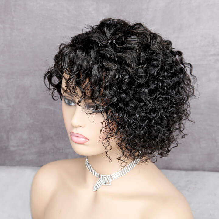 short pixie cut curly closure wigs