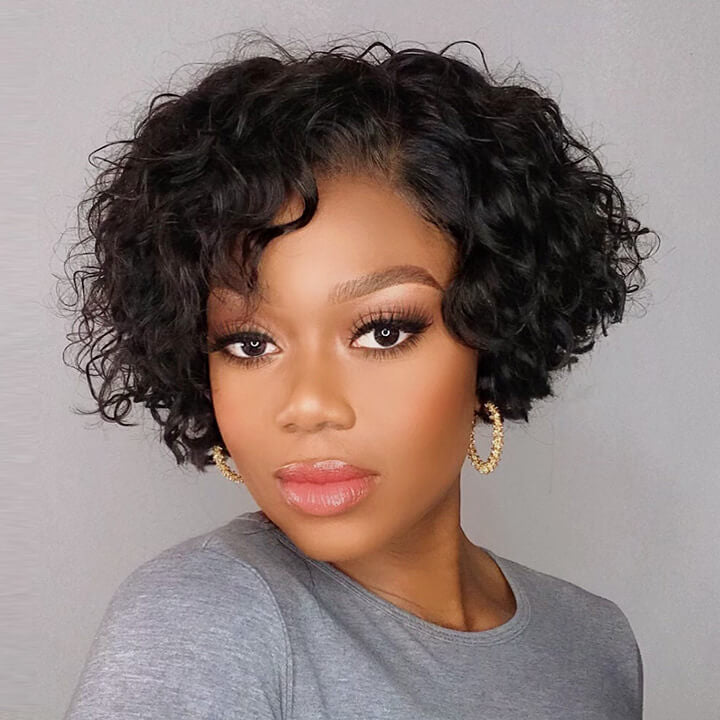 Short Curly Bob Lace Closure Wigs Pre plucked Curly Pixie Cut Human Hair Wigs 160% 220% Density