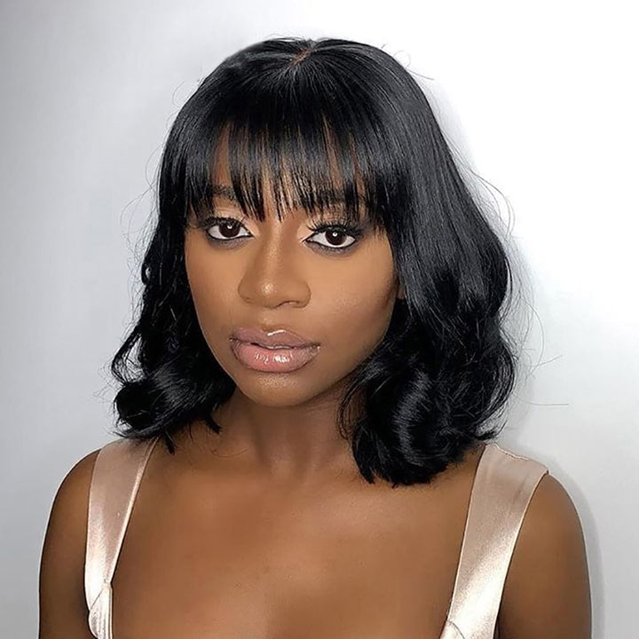 Short Loose Body Wave Bob Wig With Bangs 13x6 Lace Front Human Hair Wigs With Bangs For Black Women