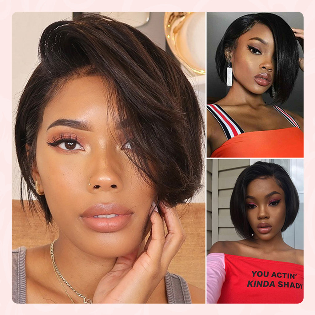 pixie cut lace front human hair wigs
