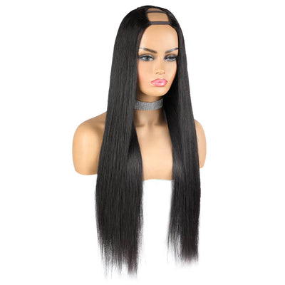 U Part Wig Long Straight Human Hair Wigs U Shape None Lace Human Hair Wigs