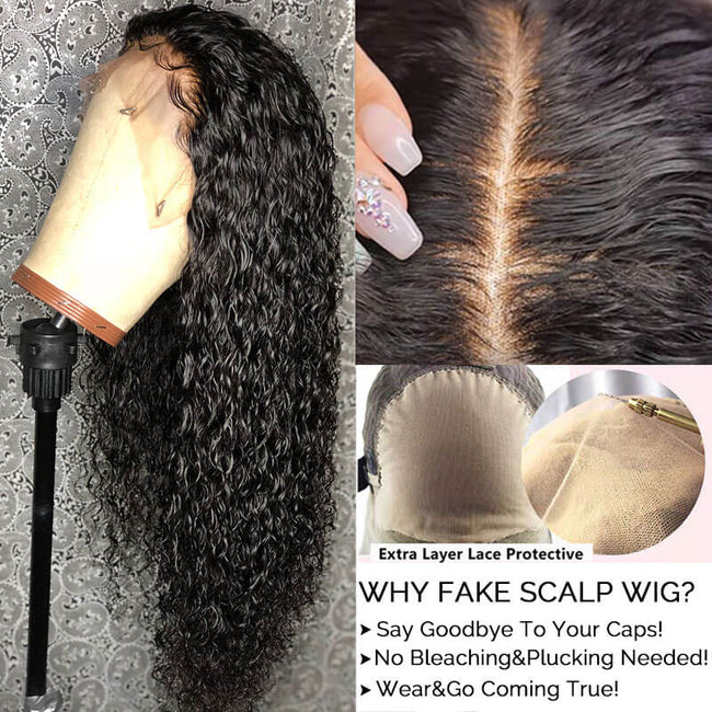 13x4 Fake Scalp Lace Front Wigs Pre plucked Brazilian Deep Curly 100% Human Hair Wigs Glueless Lace Wigs