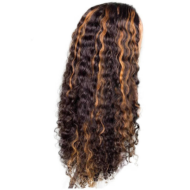 Highlight Curly Fake Scalp Lace Front Wigs 13x4 Colored Brazilian Human Hair Wigs Pre plucked Glueless Lace Wigs With Baby Hair