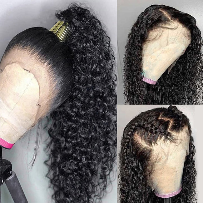 13x4 Brazilian Deep Wave Lace Front Wig Pre Plucked Curly Frontal Lace Human Hair Wigs US STOCK