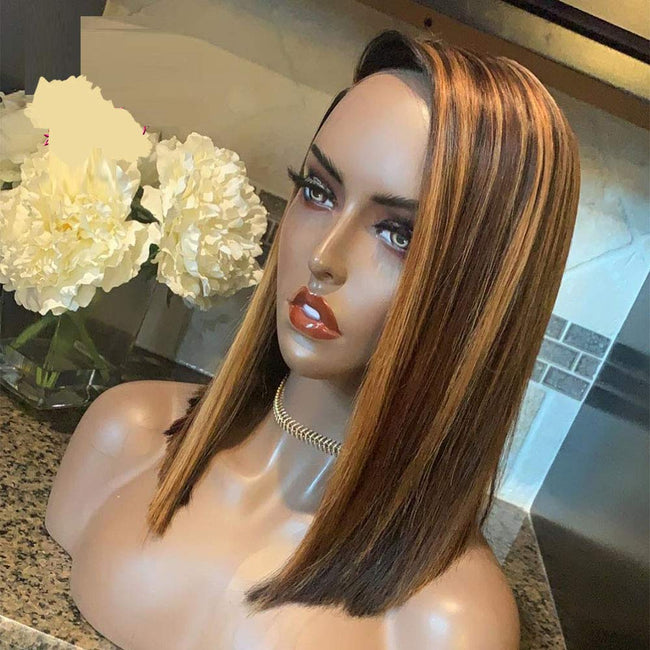 13x4 Highlight Bob Lace Wig With Bangs Honey Blonde Brazilian Straight Lace Front Human Hair Wigs 2020 Hot Look