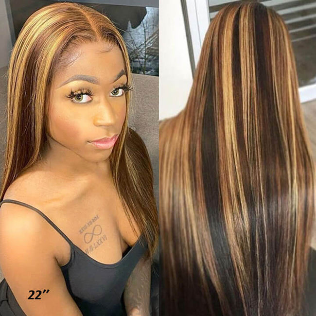 13x4 Highlight Brown Blonde Brazilian Straight Lace Frontal Human Hair Wigs Streaks