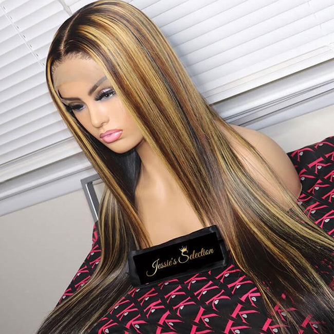 13x4 Colored Brazilian Lace Front Wigs Highlight Human Hair Wigs Straight P4/27 Brown Mix Blonde Wigs