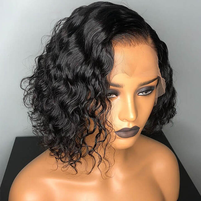 13x4 Curly Human Hair Wigs Brazilian Deep Wave Bob Cut Wig Lace Front Wigs Pre plucked With Baby Hair