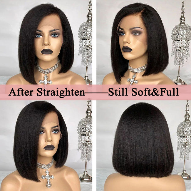 4x4 Kinky Straight Bob Wig 13x4 Lace Frontal Wigs Brazilian Italian Yaki Human Hair Wigs For Black Women
