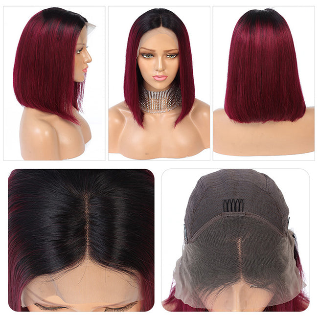 ombre burgundy human hair wigs