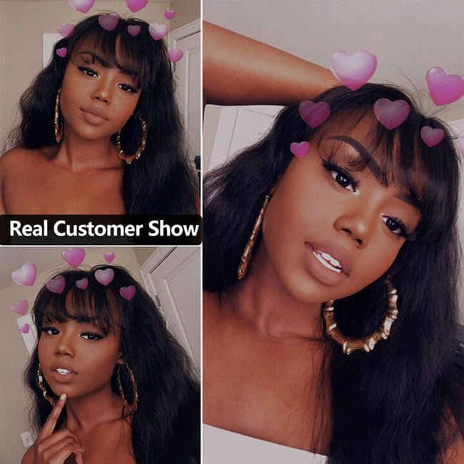 13x6 Brazilian Body Wave Wigs Lace Front Human Hair Wigs With Bangs