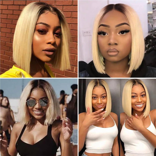 13x6 Ombre Blonde Bob Cut Lace Wigs Indian Remy Straight Human Hair Lace Front Wigs