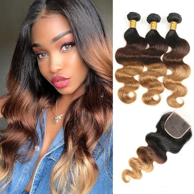 Ombre Bundles With Closure Body Wave Human Hair Weave Bundles With Lace Closure T1B/4/27