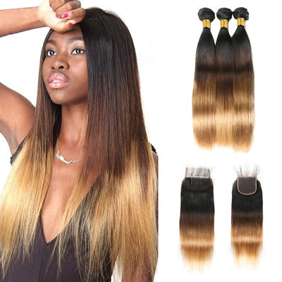Ombre Bundles With Closure Straight Human Hair Weave Bundles With Lace Closure T1B/4/27
