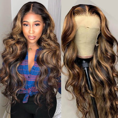Highlight Body Wave Wig Ombre Honey Blonde Human Hair Lace Front Wig Pre Plucked Natural Hairline With Baby Hair