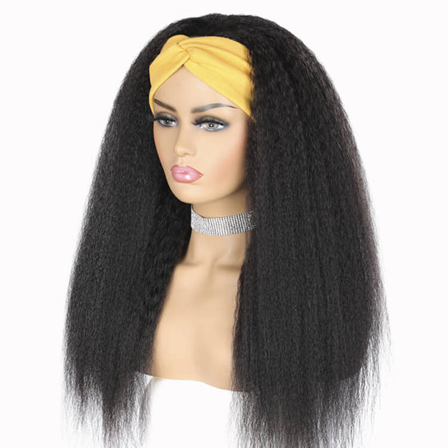Headband Wig Kinky Straight Non Lace Wig Side