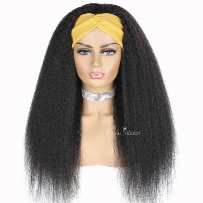 Headband Wig Kinky Straight Hair Wig Front