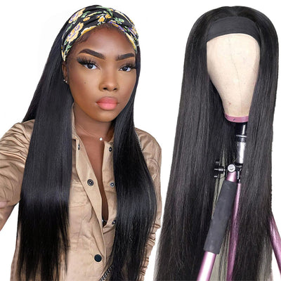 Straight Head Band Wig Human Hair Long Wig No Shedding No Tangling