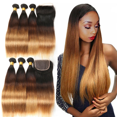 Ombre Bundles With Closure Straight Human Hair Weave Bundles With Lace Closure  T1b/4/30