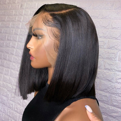 Straight Lace Part Bob Wig Brazilian Remy Human Hair Wigs For Black Women