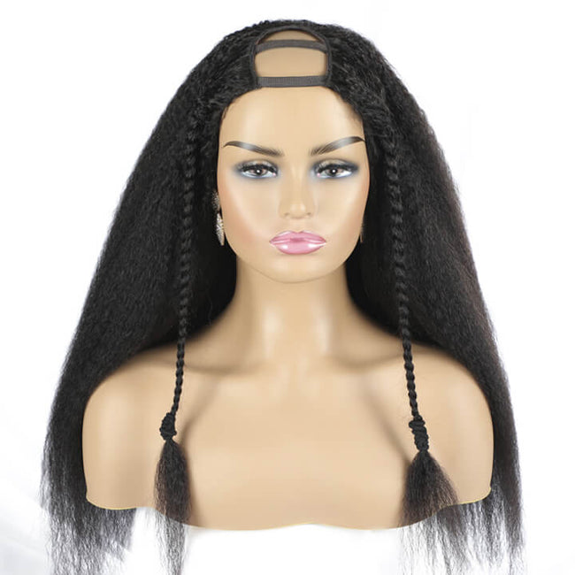 U PART WIG Kinky Straight Human Hair Wigs Non Lace Wig QUICK & EASY AFFORDABLE HUMAN HAIR WIG Real Scalp Glueless Human Hair Wig Without Sewing New Arrivals
