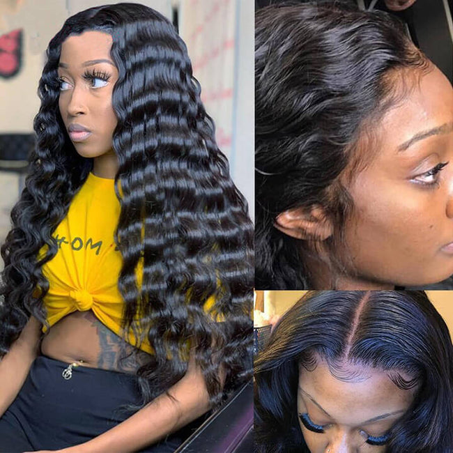 360 HD Transparent Swiss Lace Front Wigs Loose Deep Wave Human Hair Frontal Wigs For Black Women