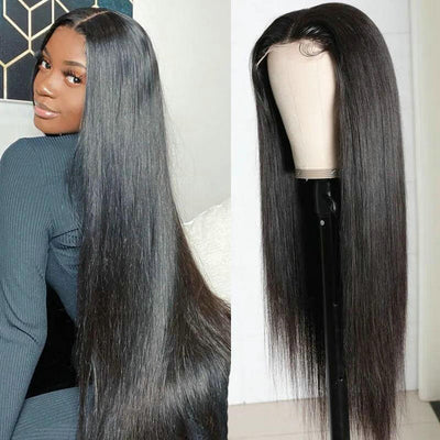 5X5 Lace Closure Wig Brazilian Straight Remy Human Hair Lace Wigs Pre Plucked With Baby Hair
