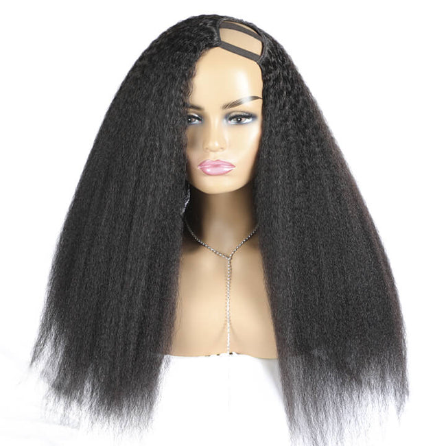 U Part Wig Kinky Straight 180% Density Glueless Human Hair Brazilian Virgin Hair For Women Natural Black Color