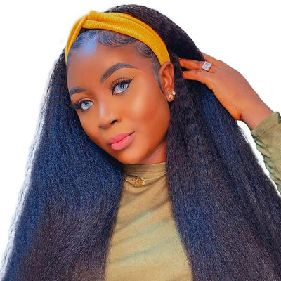 Head Band Wig Kinky Straight Human Hair Wigs Glueless Natural Hair Wigs